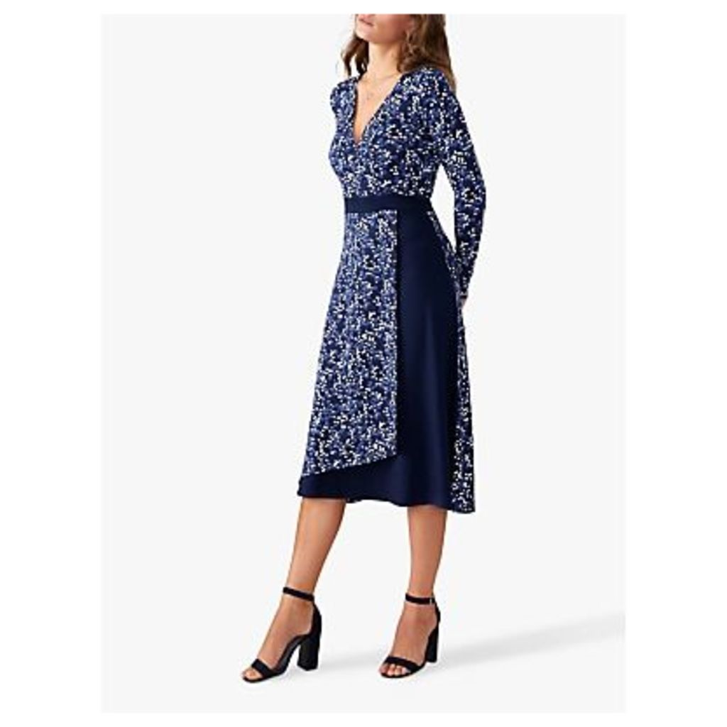 Pure Collection Jersey Wrap Dress, Navy Spot