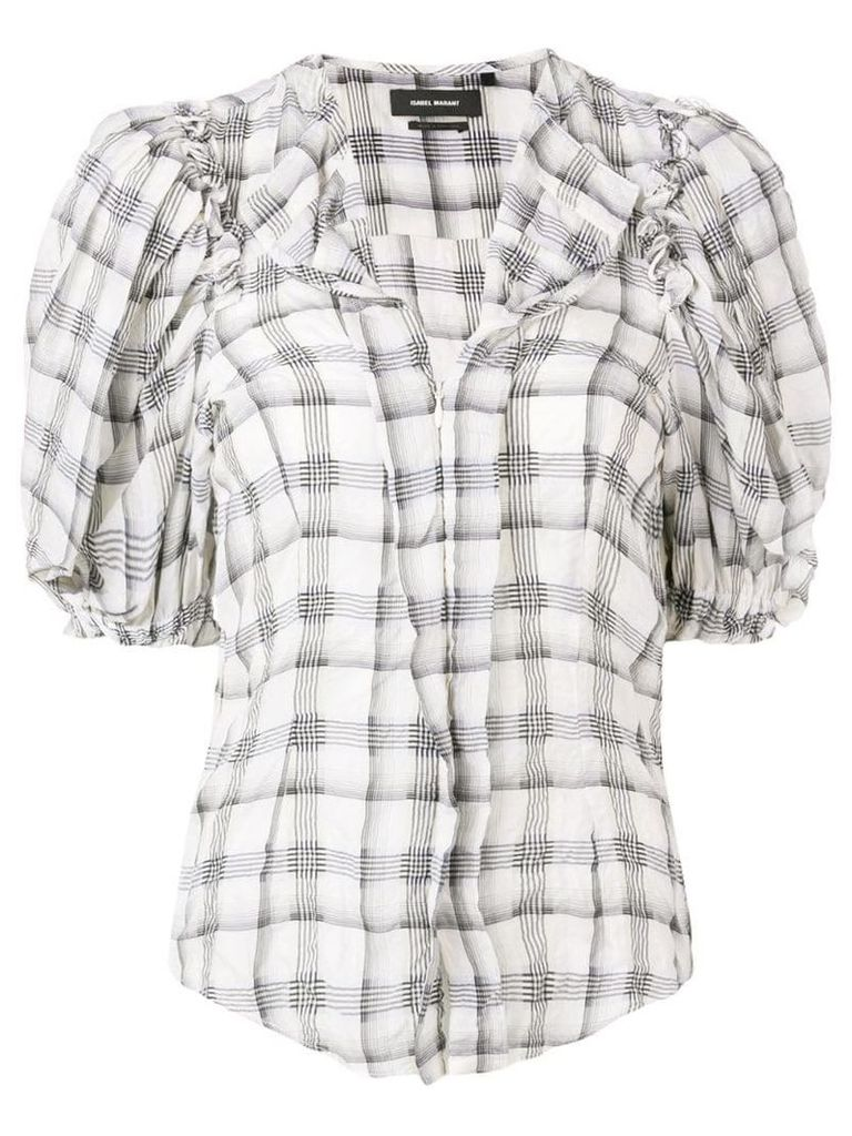 Isabel Marant ruched checked blouse - Neutrals