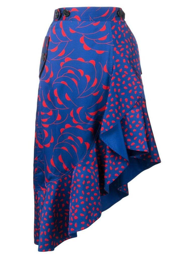 Self-Portrait patterned asymmetric skirt - Blue