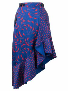 Self-Portrait patterned asymmetric skirt - Blue