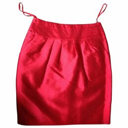 Red Synthetic Skirt