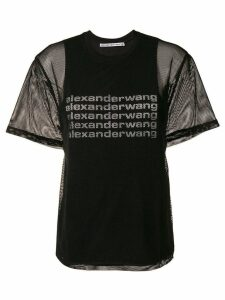 Alexander Wang mesh logo T-shirt - Black