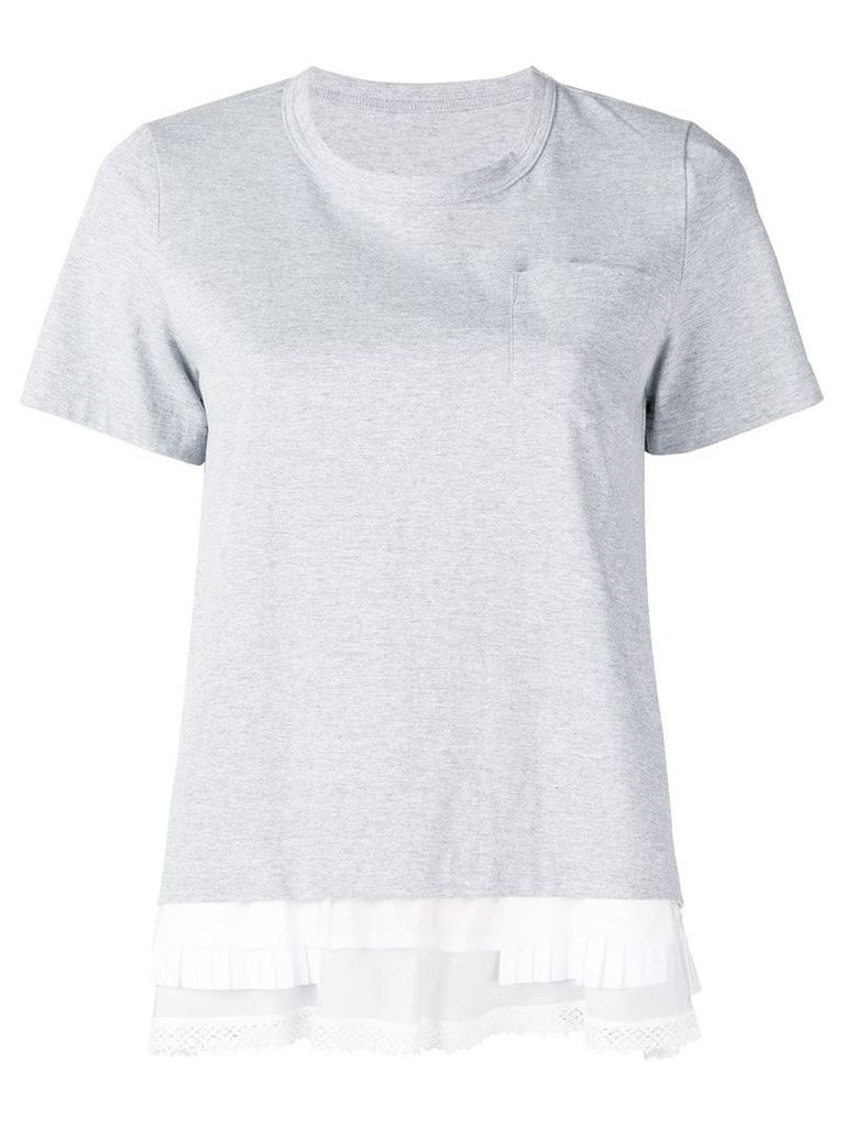 Sacai layered hem T-shirt - Grey