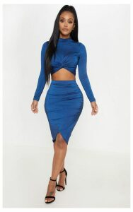 Shape Navy Ruched Side Midi Skirt, Blue