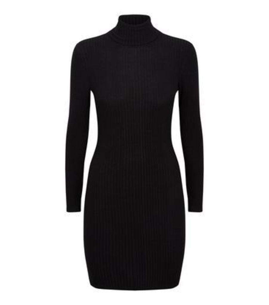 Black Roll Neck Long Sleeve Bodycon Mini Dress New Look