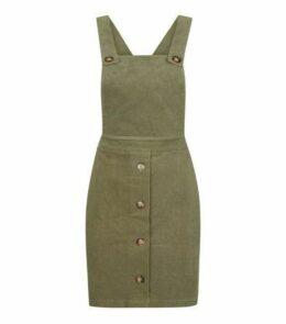 Khaki Corduroy Faux Horn Button Pinafore Dress New Look