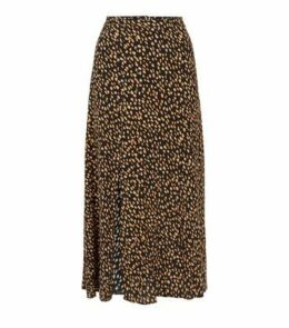 Black Spot Print Side Split Midi Skirt New Look