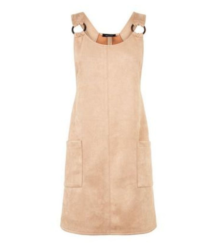 Stone Suedette Resin Ring Pinafore Dress New Look