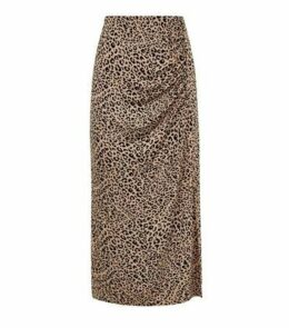 Brown Leopard Print Side Split Midi Skirt New Look