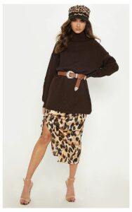 Chunky Knitted Roll Neck Chocolate Jumper, Chocolate