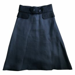Linen mid-length skirt