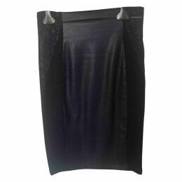 Patent leather mid-length skirt
