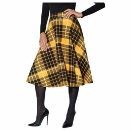 Krisp  Check Print Full Midi Skirt [ Yellow]  women's Skirt in Yellow
