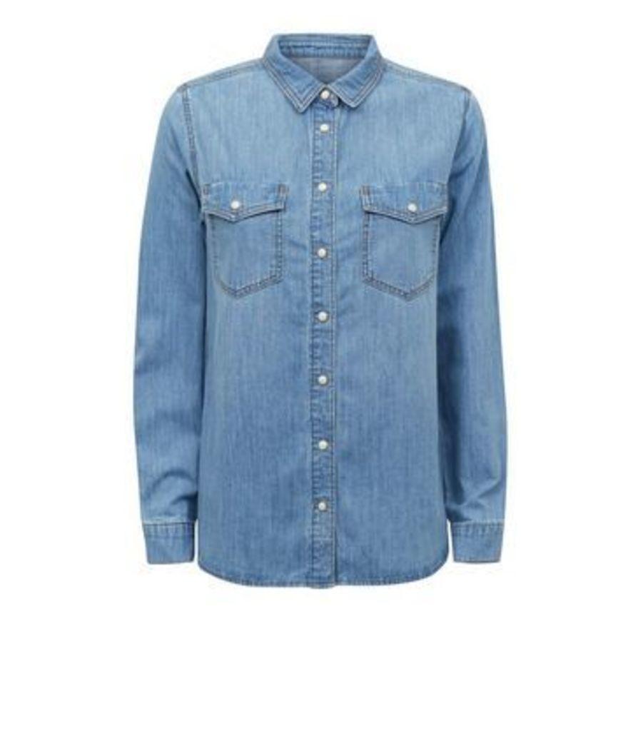 Blue Pocket Front Denim Shirt New Look
