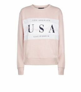 Pale Pink Colour Block USA Slogan Sweatshirt New Look