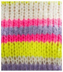 Pink Neon Stripe Fluffy Jumper New Look