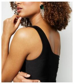 Black One Shoulder Slinky Bodysuit New Look