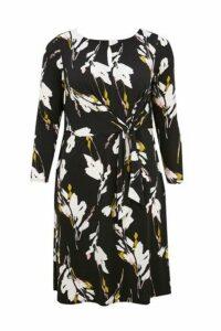 Womens Evans Black Floral Tie Front Ity Dress -  Black