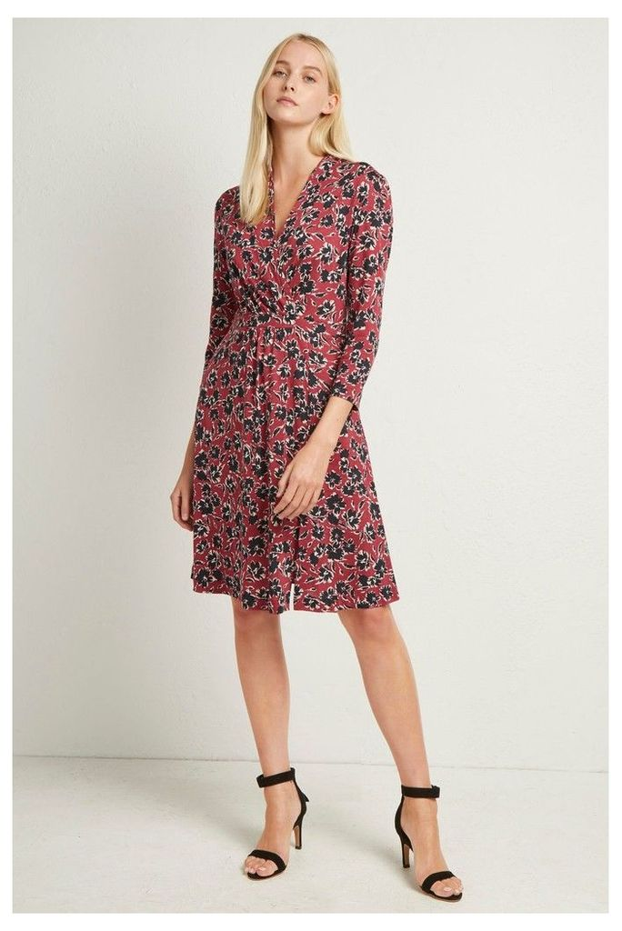 Womens French Connection Red Floral Meadow 3/4 Sleeve Dress -  Red