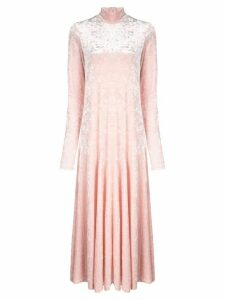 Ganni high neck maxi dress - Pink