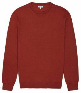 Reiss Wessex - Merino Wool Jumper in Burnt Orange, Mens, Size XXL