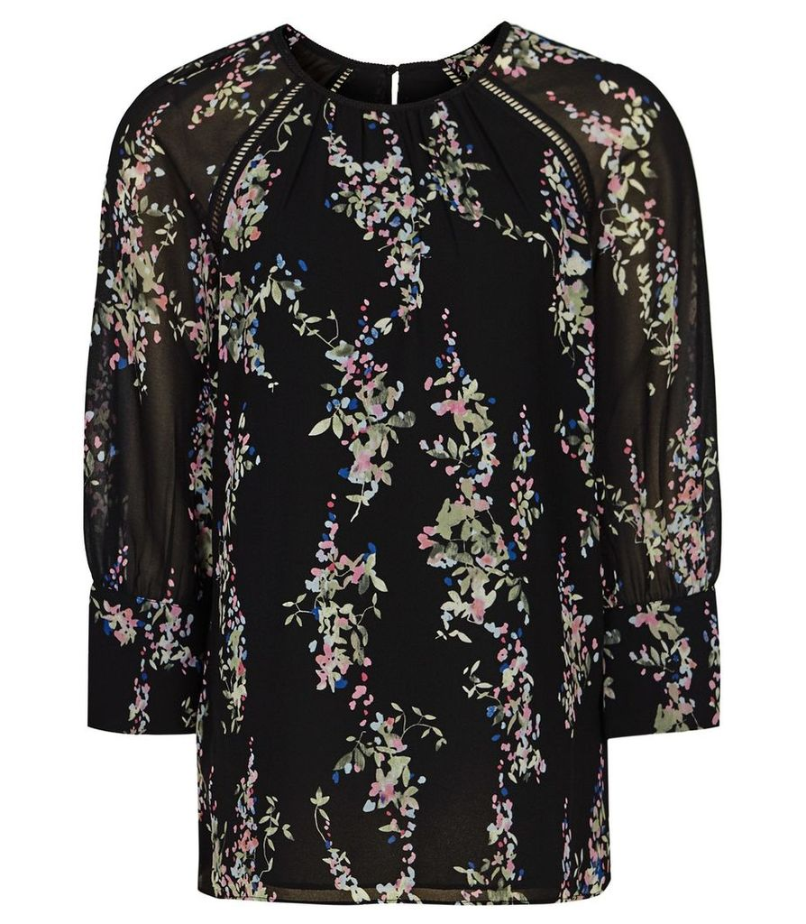 Reiss Pisa - Printed Blouse in Black Floral, Womens, Size 14
