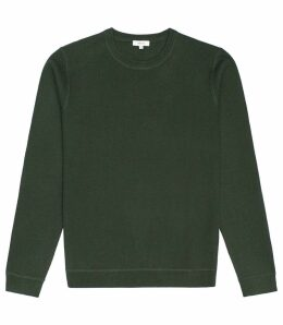 Reiss Dakota - Textured Crew Neck Jumper in New Sage, Mens, Size XS