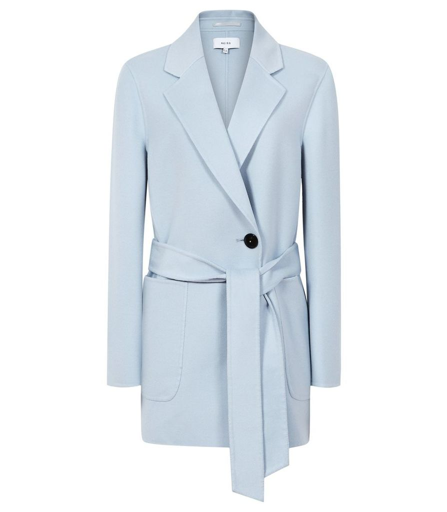 Reiss Austen - Wool Blend Self Tie Coat in Light Blue, Womens, Size 14