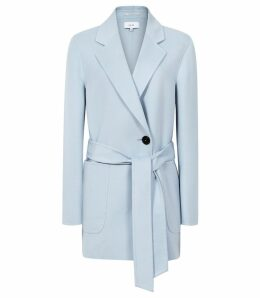 Reiss Austen - Wool Blend Self Tie Coat in Light Blue, Womens, Size 14