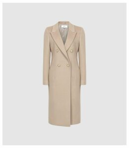 Reiss Heston - Longline Double Breasted Coat in Camel, Womens, Size 14
