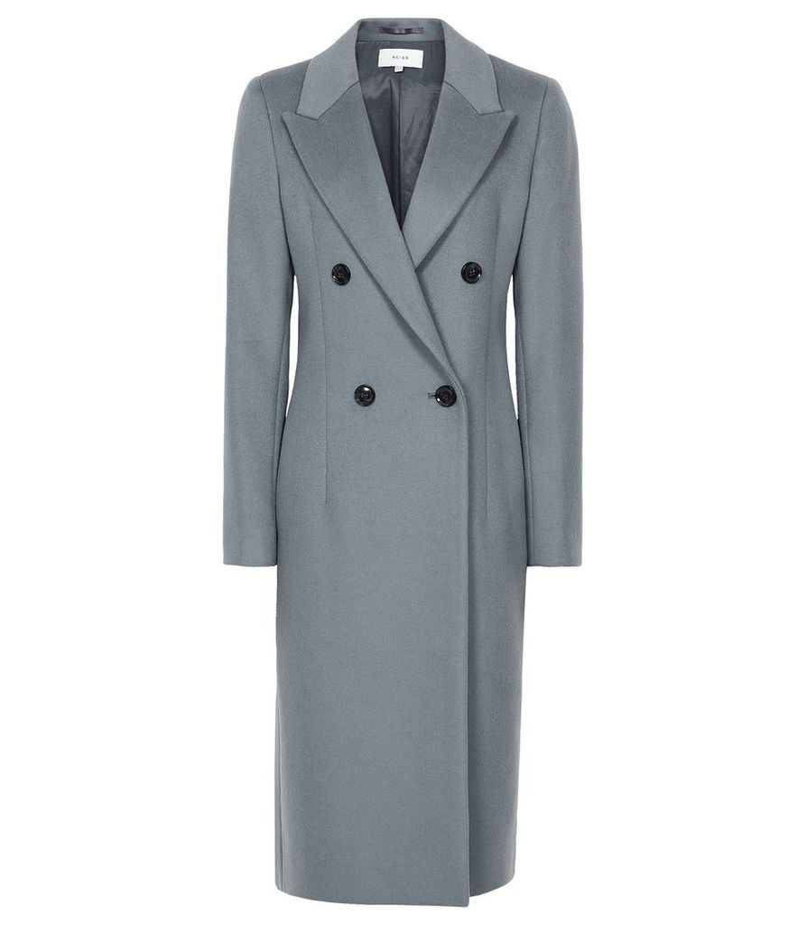 Reiss Heston - Longline Double Breasted Coat in Slate, Womens, Size 14