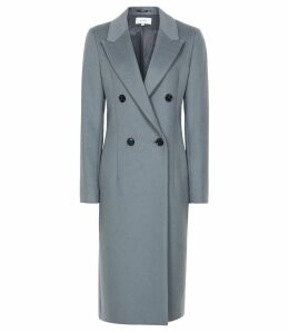 Reiss Heston - Longline Double Breasted Coat in Slate, Womens, Size 14