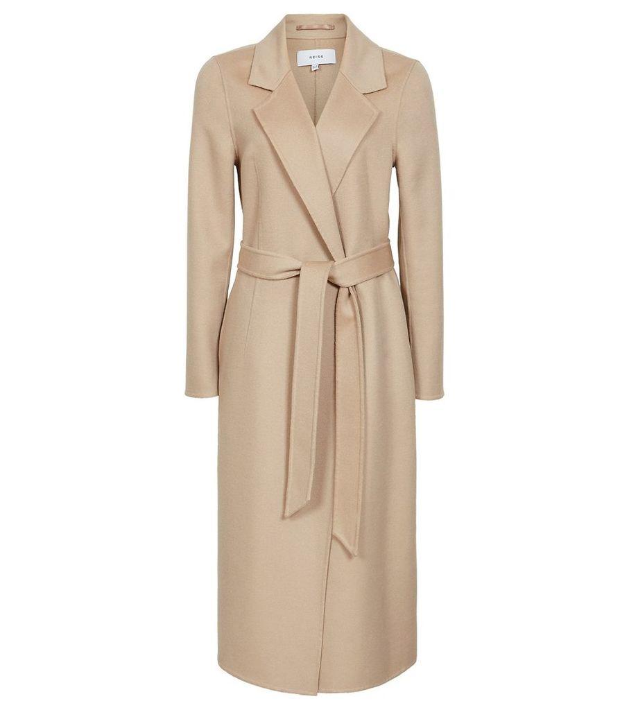 Reiss Winona - Blind Seam Longline Coat in Camel, Womens, Size 14