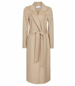 Reiss Winona - Blind Seam Longline Coat in Camel, Womens, Size 14