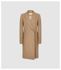 Reiss Santhia - Wool Blend Double Breasted Coat in Camel, Womens, Size 14