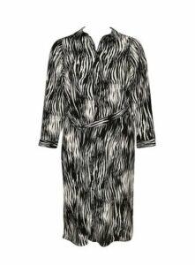Black Zebra Print Shirt Dress, Black