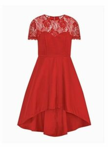 **Chi Chi London Red Lace Dim Hem Skater Dress, Red