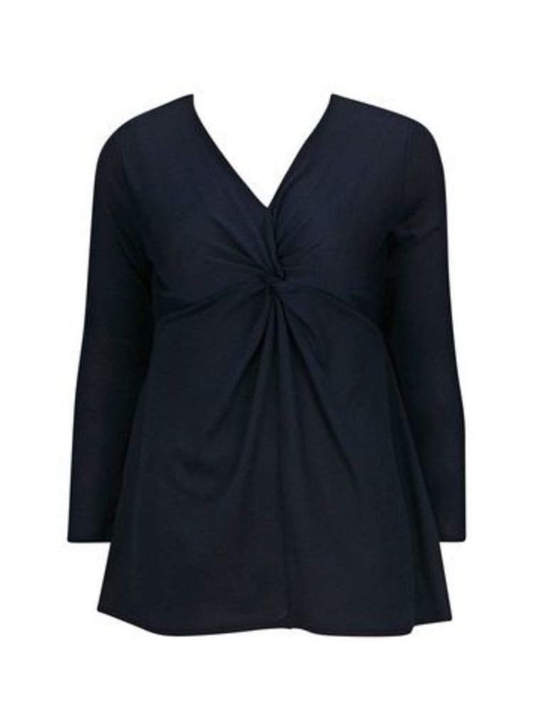 Navy Blue Knot Front Top, Navy