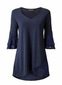 **Grace Navy Blue Tulip Hem Tunic, Navy