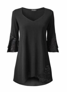 **Grace Black Tulip Hem Tunic Top, Black