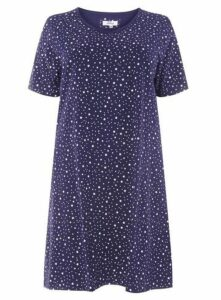 Navy Blue Ditsy Star Print Short Nightdress, Navy