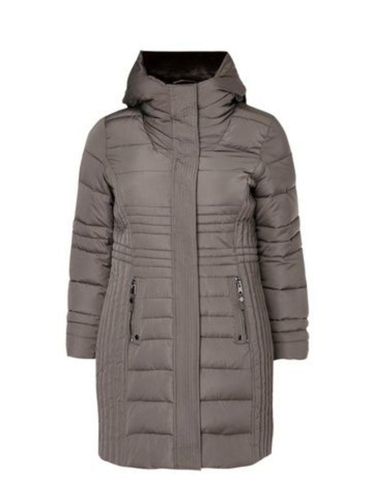 Grey Quilted Coat, Grey