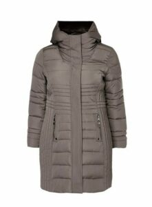 Grey Quilted Coat, Grey