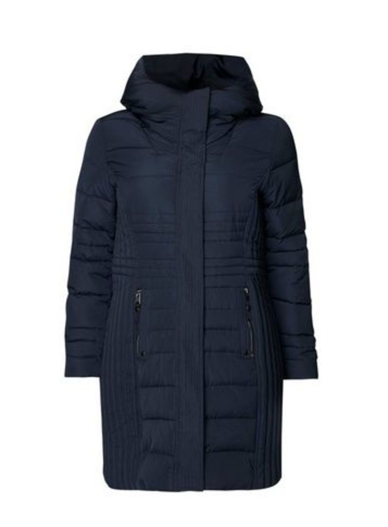 Navy Blue Quilted Coat, Navy