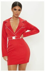 Red Pinstripe Buckle Detail Bodycon Dress, Red