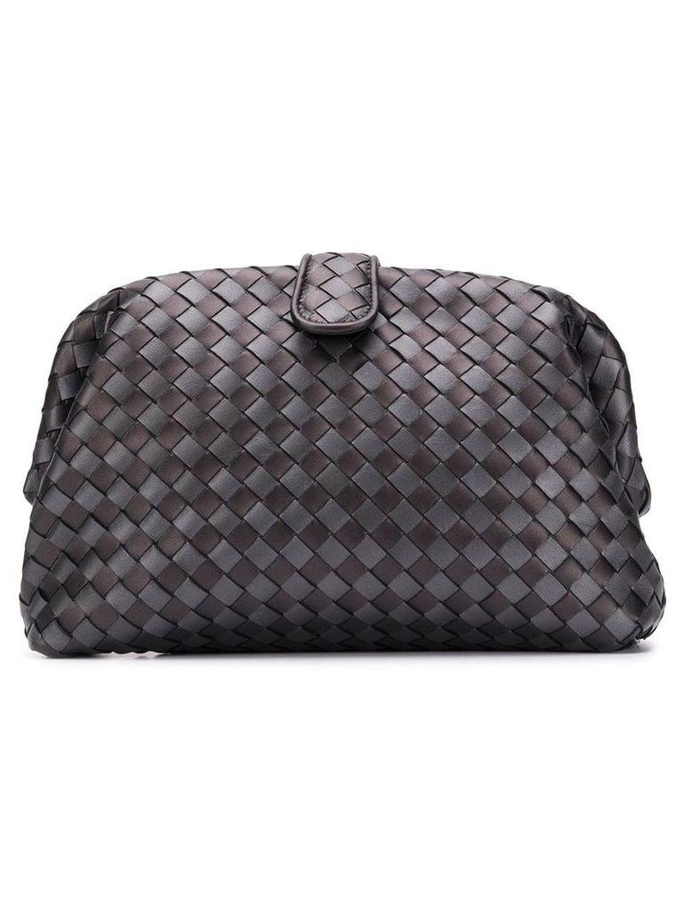 Bottega Veneta woven texture clutch bag - Grey