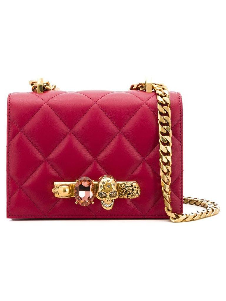 Alexander McQueen jewelled quilted shoulder bag - Red
