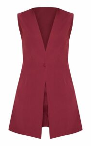 Burgundy Waistcoat Playsuit, Red