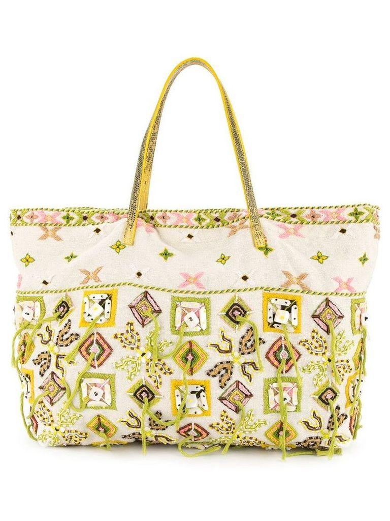 Fendi Vintage embroidered tote bag - White