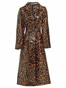 Miu Miu leopard print trench coat - Brown